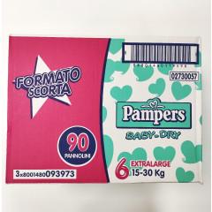 PAMPERS BABY DRY TAGLIA 6 XL 90 PEZZI 15-30 KG