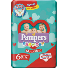 PAMPERS BABY DRY MUTANDINO SM TAGLIA 6 EXTRALARGE SMALL PACK 14 PEZZI
